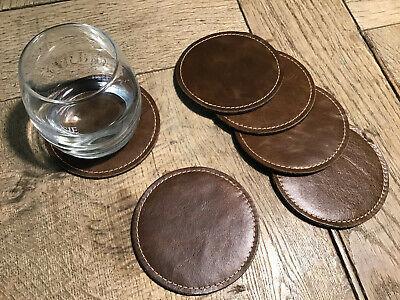 Leder Untersetzer (6 Untersetzer aus Leder / Wollfilz 10cm rund Glasuntersetzer)