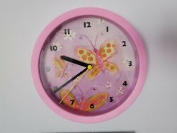 Purple Analog Wall Clock Kids Room Decor Gift