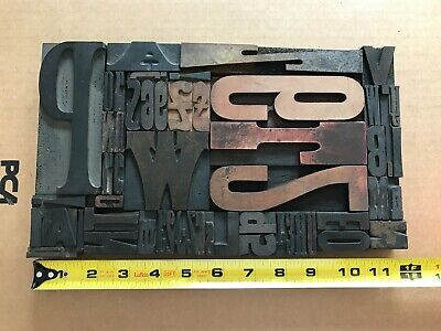 Letterpress Print Type Wood Letter And Number Group - 55 Pieces