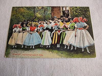 alte Postkarte Ansichtskarte Karte PK AK Spreewald Hochzeitsgruppe in Burg 1912