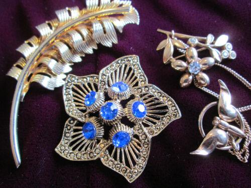 Vintage Silver Vermeil Chatelaine Flowers Bird Brooch Pins Jewelry Lot 3pcs.