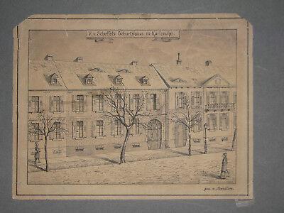 JOSEF VICTOR VON SCHEFFEL Geburtshaus KARLSRUHE Federzeichnung in schwarz