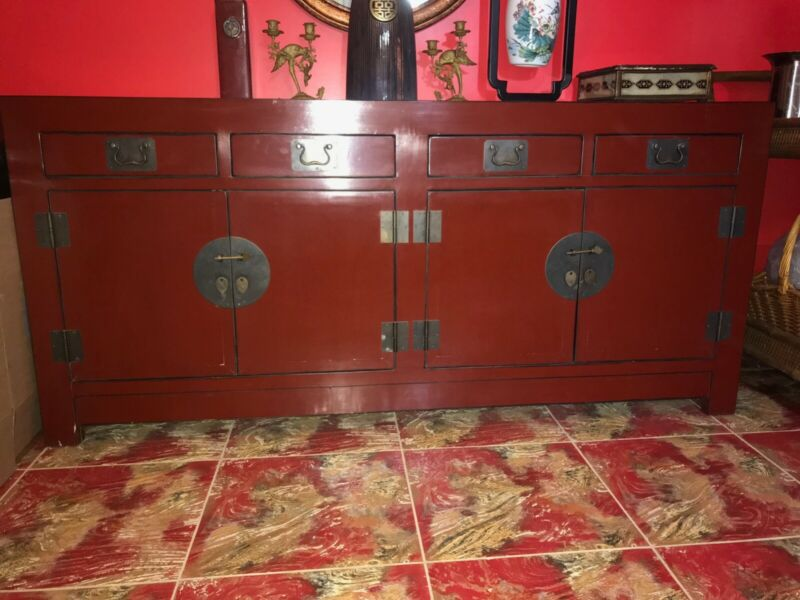 Red Lacquer Antigue Chinese Cabinet/Console Table.Very good condition!!!