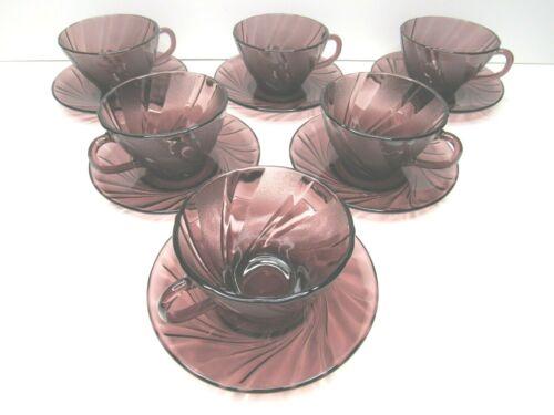 6 Duralex France Amethyst Purple Swirl Bormioli Rocco Tea Cup Saucer Sets Vereco