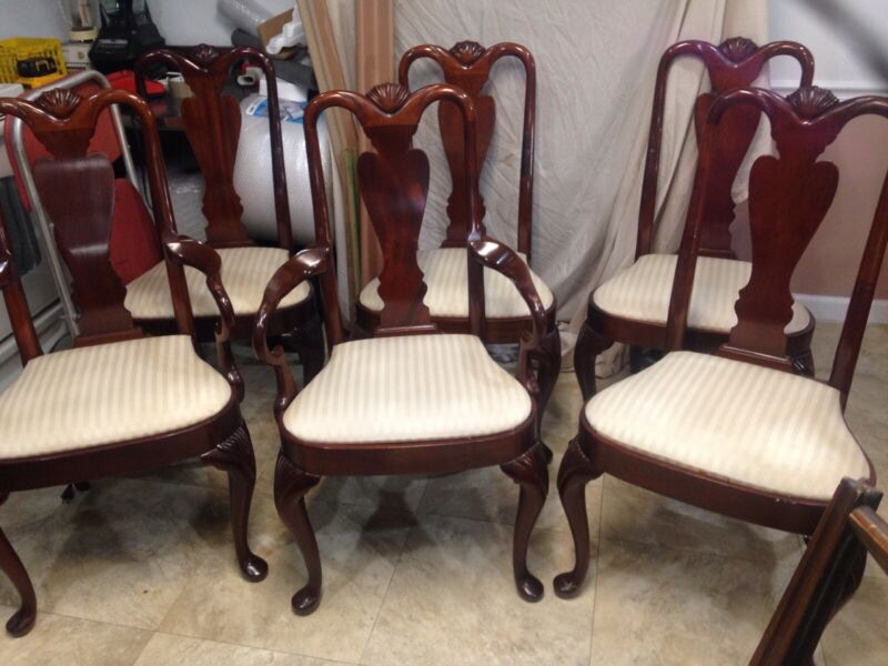 Set Of 6 HICKORY CHAIR CO. James River Queen Anne Mahogany Dining Room Chairs