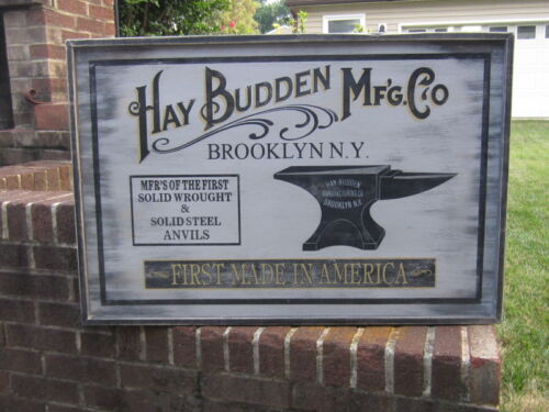 Vintage Style HAY BUDDEN MFG Anvil Wood Advertising Sign 25x37 Blacksmith Forge