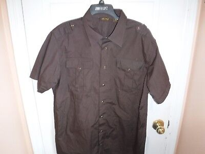 Pre Owned PJ Mark Brown Button Front Snap Short Sleeve Shirt Brown Short Sleeve Pajamas