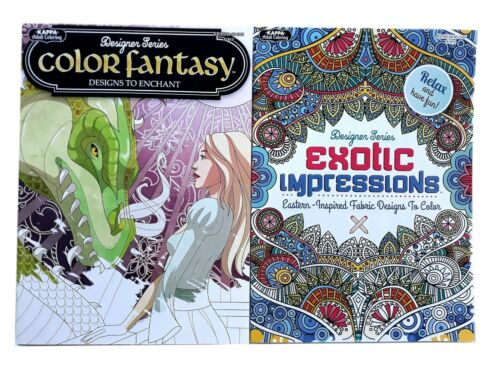 Fantasy Dragon & Exotic Expressions Adult Coloring Book Series Books Set of 2