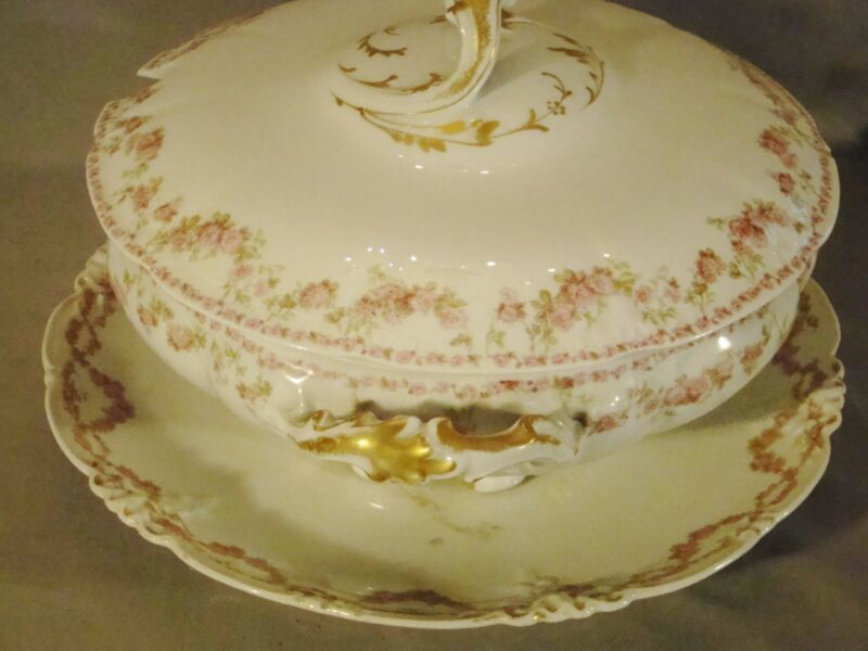Limoges Pink Transfer Floral Drape Soup Tureen Cover & Underplate