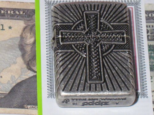 New ZIPPO USA LIGHTER 29667 Armor Multi cut Celtic Cross & Knot Antique Silver C