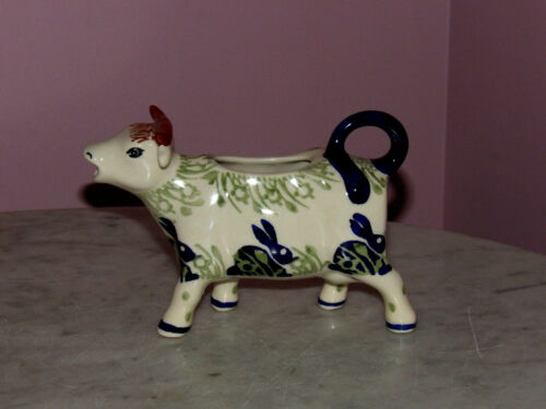Polish Pottery Cow Creamer! Bunny Pattern!