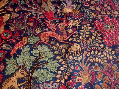 "Old 5'3"" x 8' Oriental Rug Mythical Beast & Real Animals Handmade Carpet"
