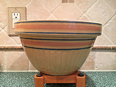 Antique Primitive Blue / Peach Banded Yellow Ware Stoneware Mixing Bowl 424 #9