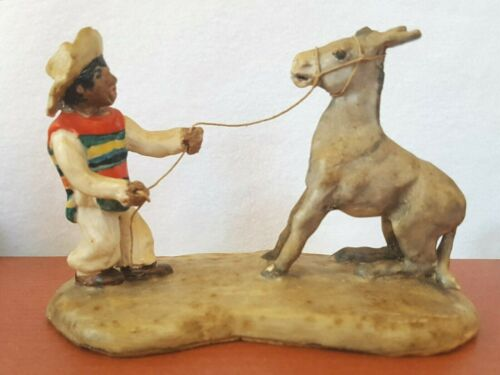 Vintage Ceramic Sculpture Figurine  Man with Stubborn Donkey Burro