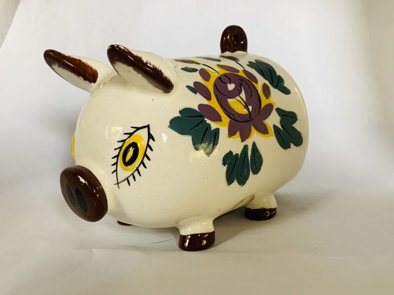 """Vintage Ceramic PINK PIGGY BANK, Japan, 6"""""""