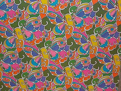 VTG WRAPPING PAPER GIFT WRAP 1960 RETRO BUTTERFLY HIPPIE 70