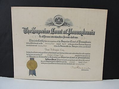 The Supreme Court of Pennsylvania Legal Document- Signed 1924,with Seal Affixed.