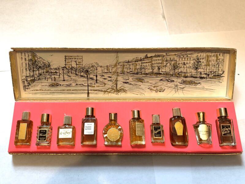 Vintage Box of 10 FRENCH Perfume Minis Ben Rickert 1 Fl Oz
