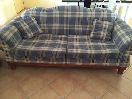 FREE - Two x 2.5 sofas and timber side table
