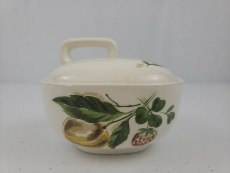 VTG Flair By Salem Lidded Peach And Clover Sugar Dish No Chips Great Condition!
