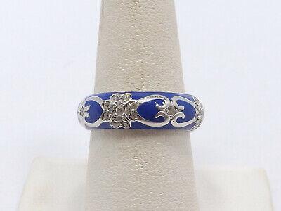 Hidalgo Sterling Silver Cobalt Blue Enamel & CZ Band Ring, size 7.75