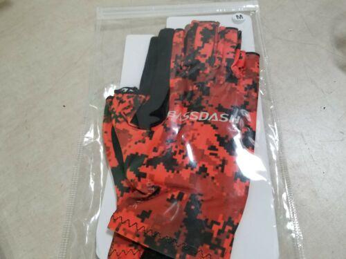 Bassdash ALTIMATE UPF 50+Sun Fingerless Fishing Gloves, Orange Camo, Medium