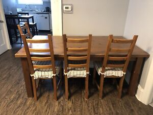 TABLE, CHAIRS & BENCH SET