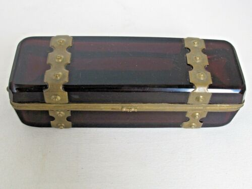 Antique Beveled Ruby Glass Jewelry Casket Large Exceptional