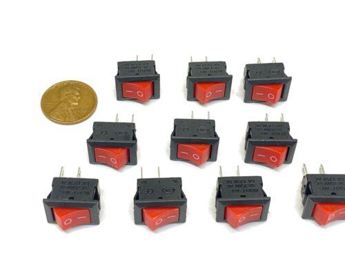 10 Pieces RED Rocker switch 15x10mm 2pin 6a small boat on off  mini kdc1 E30