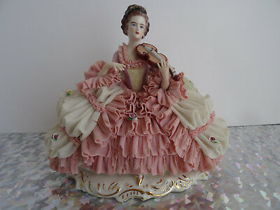LARGE DRESDEN PORCELAIN LACE FIGURINE - LADY ON SOFA WITH INSTRUMENT - GERMANY