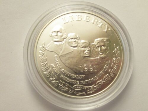 1991 US Mint Statue of Mt. Rushmore UNC Silver Dollar, COIN ONLY w/ capsule