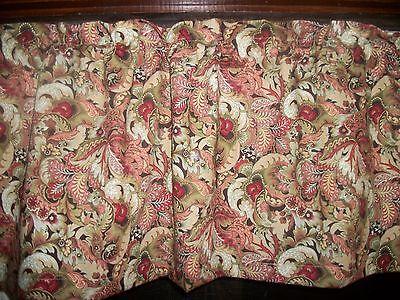 Paisley Flower diningroom bathroom bedroom fabric kitchen curtain topper (Flower Fabric Valance Curtain)