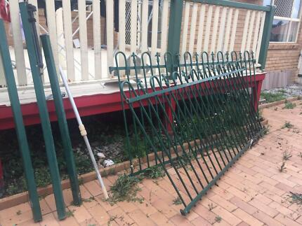 used swimming pool tank, part .fence and pump