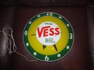 Vintage Vess Double Bubble Billon Bubble Beverage Light up Advertising Clock 50s