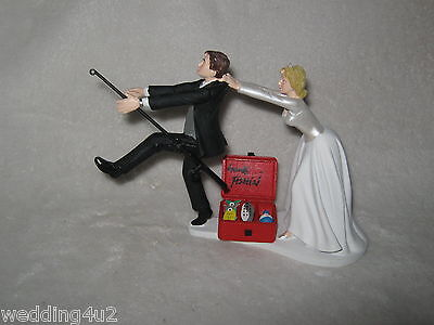 Wedding Party Reception ~Gone Fishing~  Bridal Cake Topper Pole Fisherman  (Fishing Cake Toppers)