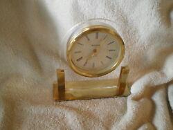 Bulova Desk/Table/Mantle Clock, Glass & Brass, Working, German Movement