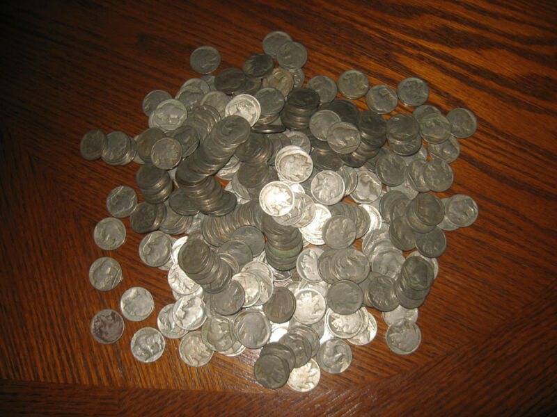 1001 Old Buffalo Nickels With No Dates.  Collect or for Jewelry