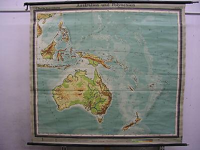 Schulwandkarte Wandkarte Rollkarte Australien Polynesien Schulkarte 175x158 1955