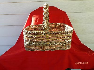 Vintage Wicker Woven Cane Basket Rustic Decorative Storage Large 18.5 In Bamboo