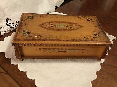 Vintage Wooden Russian Jewellery Box Hand Decorated 1978