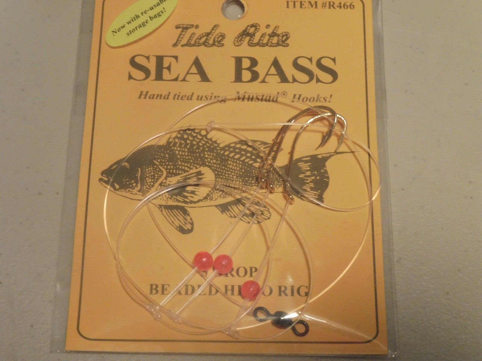 6 Sea Bass Black Tide Rite R466 3 Drop Beaded Hi-lo Saltwater Fish Rig Mustad