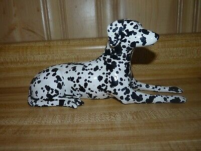 Dalmation Fire Dog laying down, porcelain statue figurine, approx 9 x 4 inches