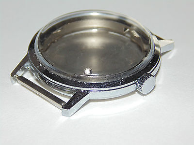 New 33mm nickel chrome watch case for mechanical movement NOS