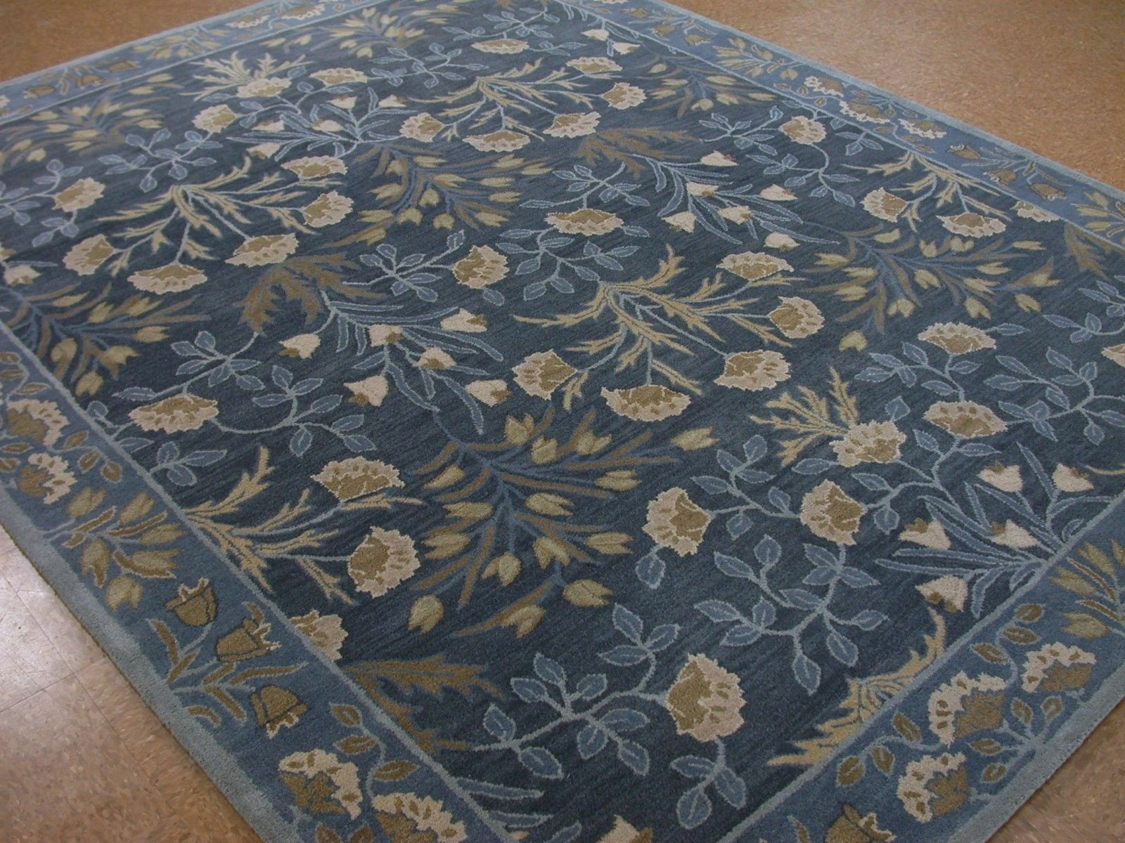 Authentic 2.5x9 3x5 5X8 8X10 9X12 Botanical Floral Blue wool