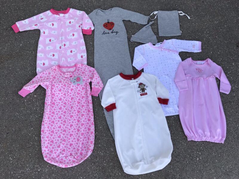Baby Zip Fleece Sleep Sack Lot Child of Mine Carters Hallmark 0-3 Months