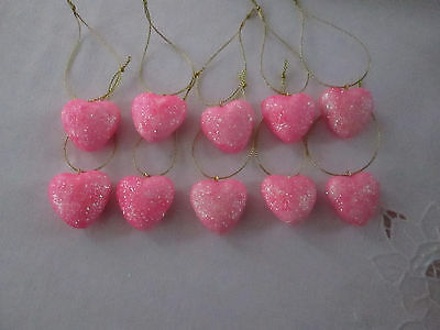 "Pkg of 10- Miniature 1"" Pink Glitter Heart Valentines Day Ornaments NEW"