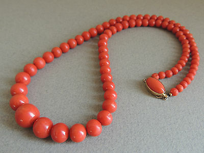 Natural Red NO DYE Coral Bead Necklace 18k Gold Clasp