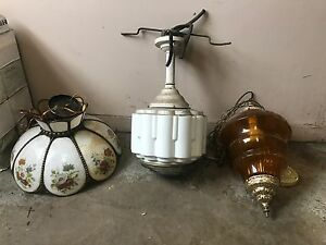 3 x vintage / old / classic ceiling lights / lamps