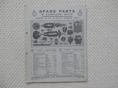AUSTIN SIXTEEN and EIGHTEEN 16 18 1934 LUCAS Parts List published May 1934