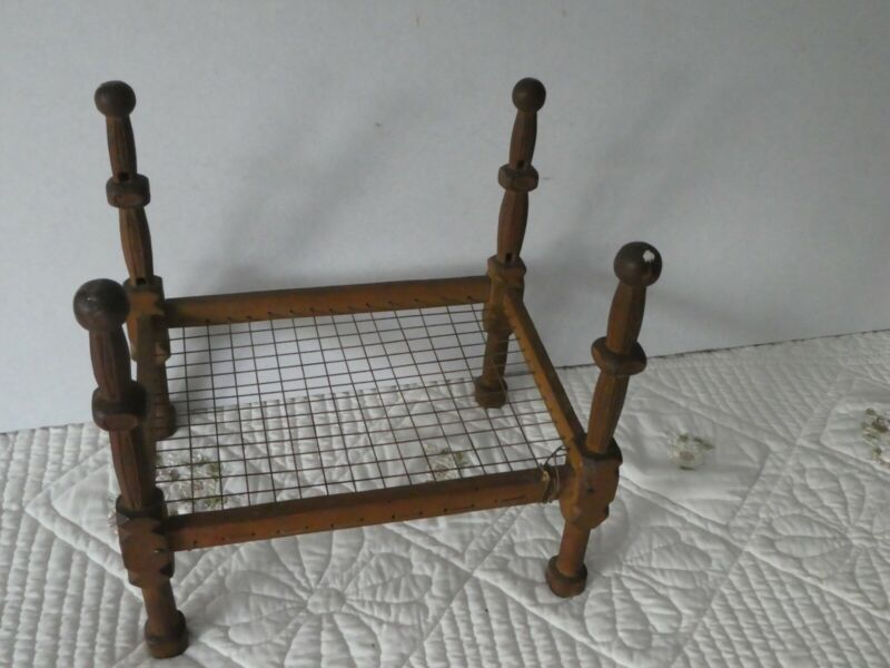 Antique 4 Post Wooden Rope Doll Bed